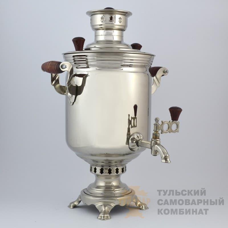 Самовар  жаровой (угольный) 5 л. латунь никелированная (банка) ТСК - фото 9053
