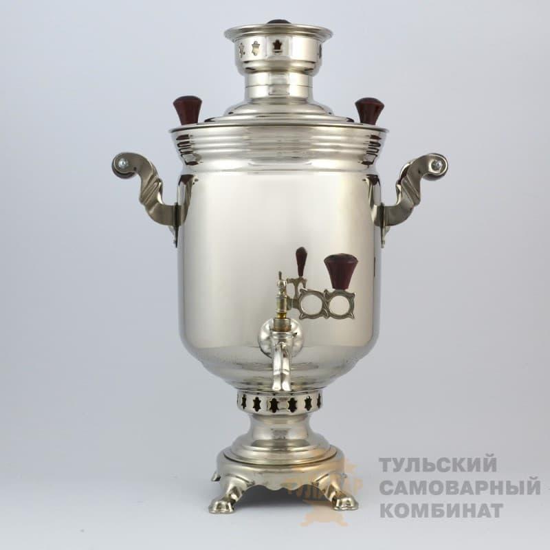 Самовар  жаровой (угольный) 5 л. латунь никелированная (банка) ТСК - фото 9054