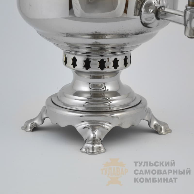 Самовар  жаровой (угольный) 5 л. латунь никелированная (банка) ТСК - фото 9055