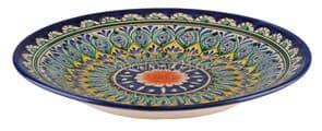 Тарелка плоская Риштанская Керамика 25 см. синяя