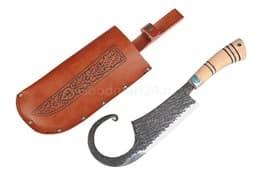 Топорик большой Гиймякеш, с ножнами, ШХ15 , гарда олово гравировка, ручка абрикос, 20-23 см. арт.42