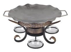 Садж сковорода 35 см, нержавеющая сталь + подставка кованная Шелковый путь премиум